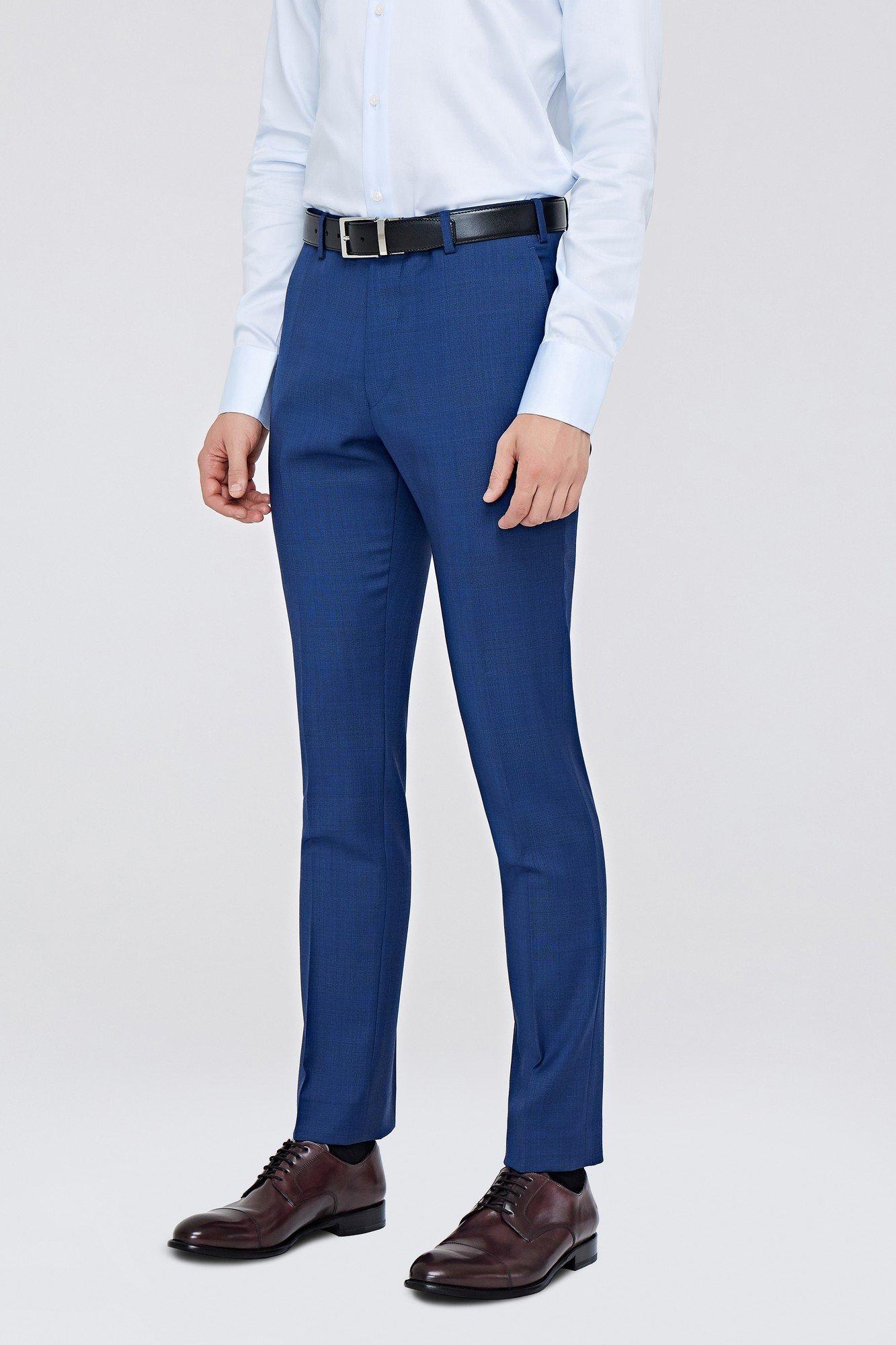 Костюмные брюки синего цвета в неброскую клетку 405BA купить по цене 7 230  руб. в интернет-магазине Albione 70cf858a734